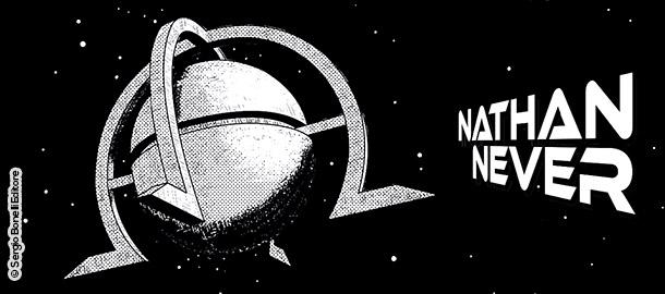 """Una vignetta di Sergio Giardo da """"Base lunare Alfa"""", Nathan Never Generazioni n. 4."""