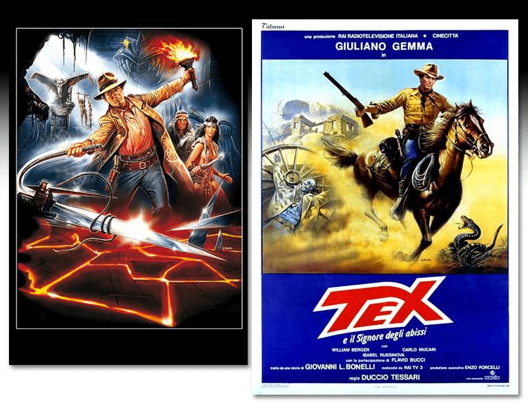 I due poster realizzati da Enzo Sciotti per il il film Tex e il Signore degli Abissi
